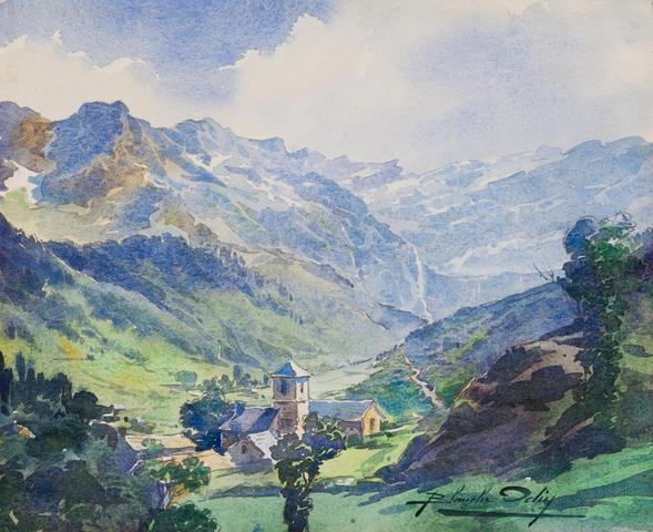Painting of Banios in the high mountains, by Blanche Odin