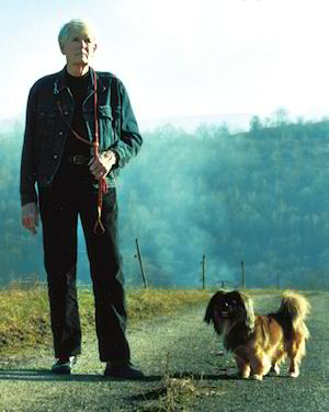 Stafford Whiteaker and his dog near his home in the South of France
