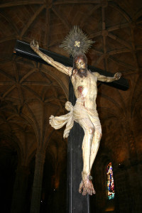 Jesus on cross in monastery of Belem Lisbon